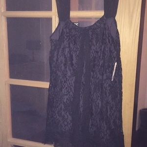 NWT Forever 21 Dark Grey with Black Lace blouse